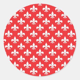 Modelo de la flor de lis en rojo etiqueta redonda