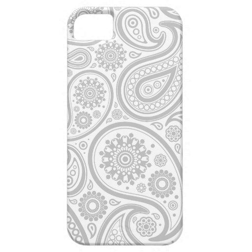 Modelo de la flora del blanco gris iPhone 5 Case-Mate protector