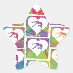 Modelo de la gimnasia del teñido anudado calcomanía forma de estrellae