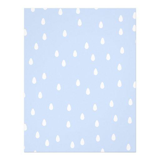 Modelo de la gota de lluvia del azul y del blanco  membrete personalizado
