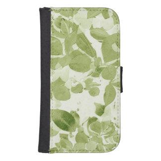 Modelo de la hoja de la verde salvia, vintage funda billetera para teléfono