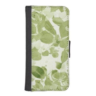 Modelo de la hoja de la verde salvia, vintage fundas tipo cartera para iPhone 5