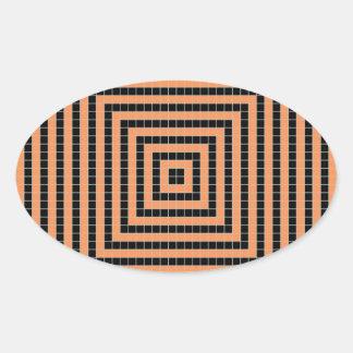 Modelo de la ilusión del pixel pegatina ovalada