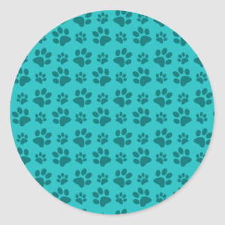 Modelo de la impresión de la pata del perro de la pegatina redonda