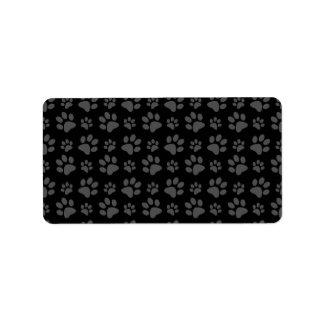 Modelo de la impresión de la pata del perro negro etiquetas de dirección