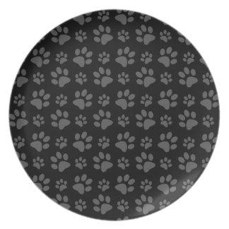 Modelo de la impresión de la pata del perro negro platos de comidas
