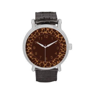 Modelo de la impresión de la piel de la jirafa relojes