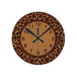 Modelo de la impresión de la piel de la jirafa relojes de pared