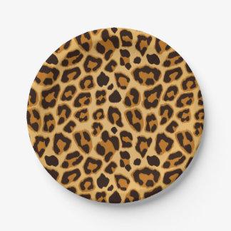 Modelo de la impresión de la piel del leopardo plato de papel de 7 pulgadas