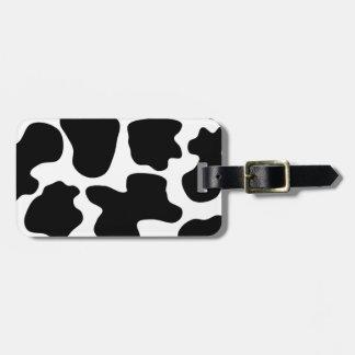 Modelo de la impresión de la vaca etiqueta de equipaje