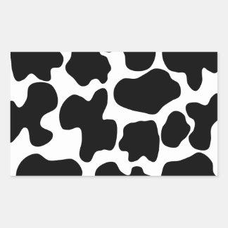 Modelo de la impresión de la vaca pegatina rectangular