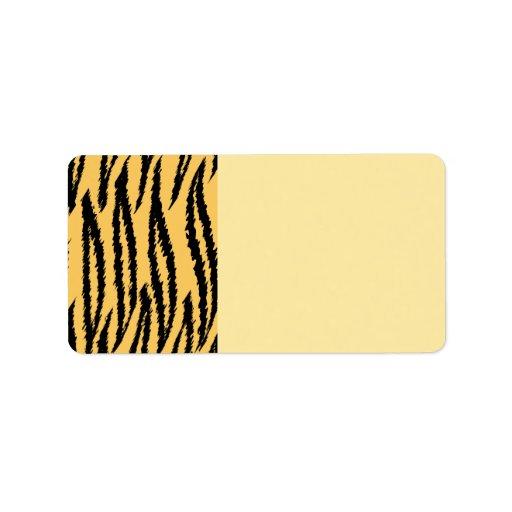 Modelo de la impresión del tigre. Naranja y negro Etiquetas De Dirección