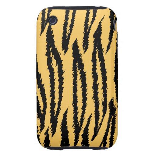 Modelo de la impresión del tigre. Naranja y negro Tough iPhone 3 Carcasa
