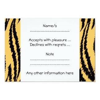 Modelo de la impresión del tigre. Naranja y negro Invitación 8,9 X 12,7 Cm