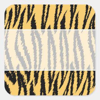 Modelo de la impresión del tigre. Naranja y negro Pegatina Cuadrada