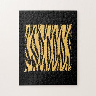 Modelo de la impresión del tigre. Naranja y negro Puzzle Con Fotos