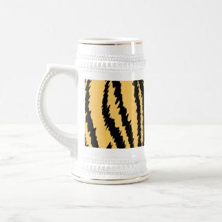 Modelo de la impresión del tigre. Naranja y negro Tazas De Café