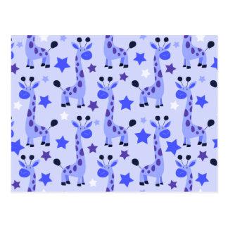 Modelo de la jirafa de la estrella azul tarjetas postales