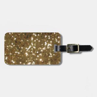 Modelo de la lentejuela del oro etiquetas bolsa