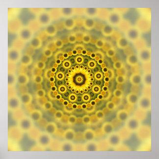 Modelo de la mandala del fractal del girasol del h poster