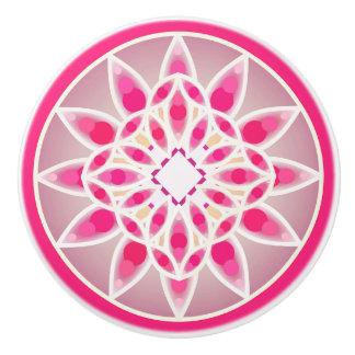 Modelo de la mandala en rosa, blanco y gris pomo de cerámica