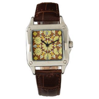 Modelo de la mandala, sombras del marrón y oro reloj de mano