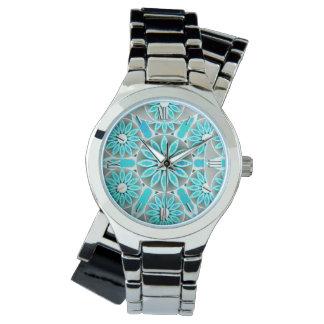 Modelo de la mandala, turquesa, gris de plata y relojes de pulsera