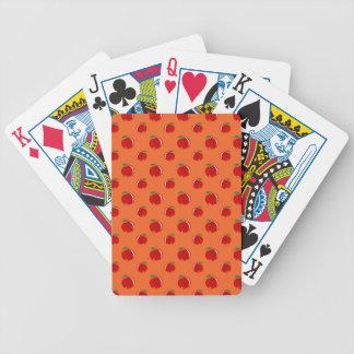 Modelo de la manzana del rojo anaranjado baraja de cartas