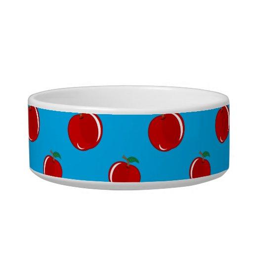 Modelo de la manzana del rojo azul de cielo tazón para comida gato
