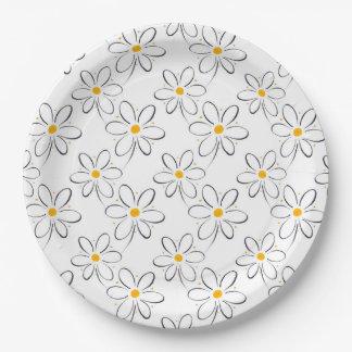 Modelo de la margarita blanca platos de papel
