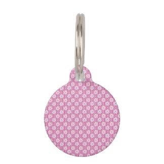 Modelo de la margarita en rayas rosadas placa para mascotas