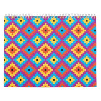 Modelo de la materia textil del edredón calendarios de pared