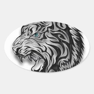 Modelo de la pantera del estampado leopardo de pegatina ovalada