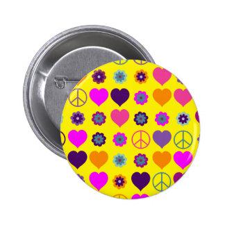 Modelo de la paz del corazón del flower power + su pin redondo de 2 pulgadas