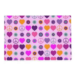 Modelo de la paz del corazón del flower power + su tapete individual
