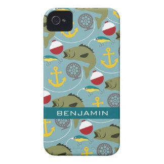 Modelo de la pesca con nombre de encargo iPhone 4 Case-Mate cobertura