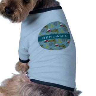 Modelo de la pesca con nombre de encargo camiseta con mangas para perro