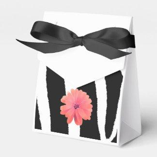 Modelo de la piel de la cebra con la flor cajas para regalos de boda