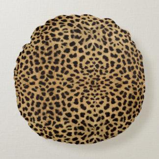 Modelo de la piel del leopardo cojín redondo