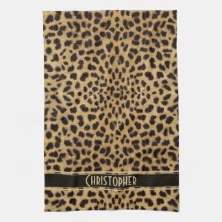 Modelo de la piel del leopardo toalla de cocina