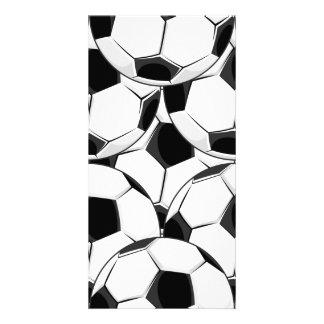 Modelo de la pila del balón de fútbol tarjeta fotografica