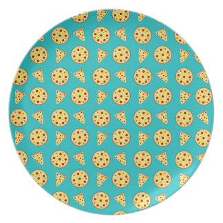 Modelo de la pizza de la turquesa plato para fiesta