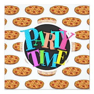 """Modelo de la pizza de salchichones; Comida Invitación 5.25"""" X 5.25"""""""