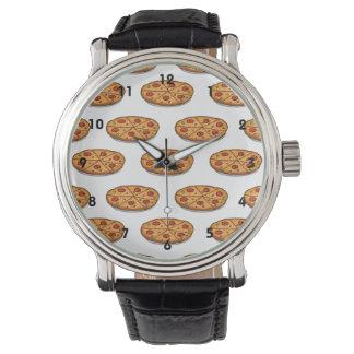 Modelo de la pizza de salchichones; Comida Reloj