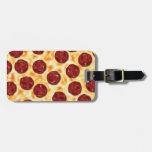 Modelo de la pizza de salchichones etiqueta para equipaje