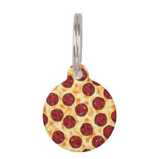Modelo de la pizza de salchichones placa de mascota