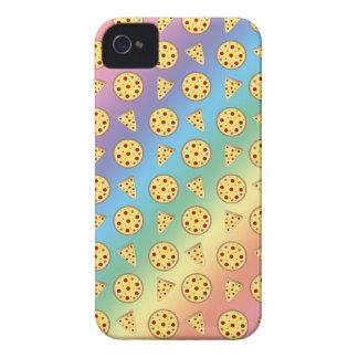 Modelo de la pizza del arco iris Case-Mate iPhone 4 protectores