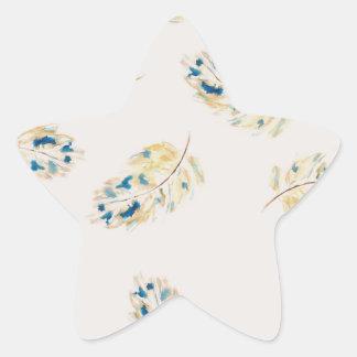 Modelo de la pluma del Watercolour Pegatina En Forma De Estrella