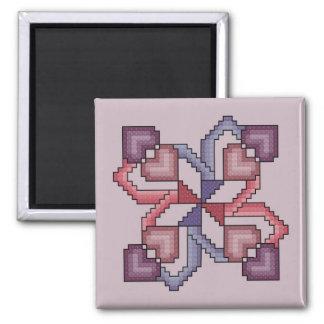 Modelo de la puntada de la cruz del cuadrado del e imán cuadrado