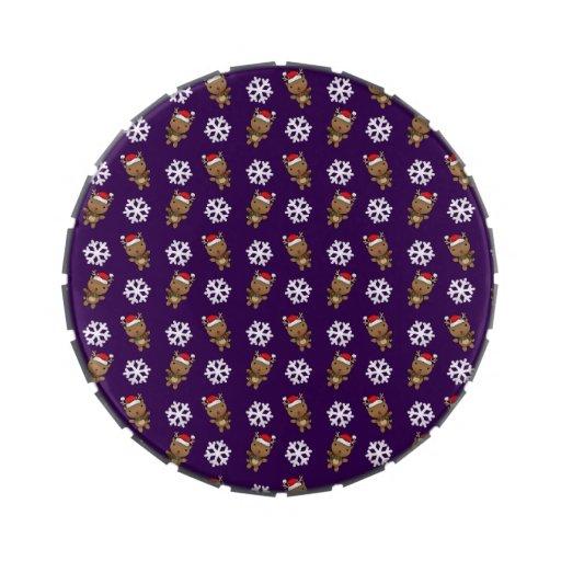 Modelo de la púrpura del copo de nieve del reno frascos de caramelos